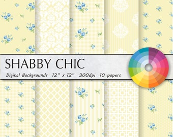 Shabby Chic Digital Paper: shabby cream floral scrapbook background, papers with roses, damask for wedding invites, cards