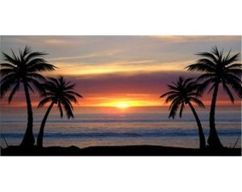 Palm Trees At Sunset Photo License Plate - LPO532