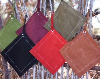 Leather Potholders, FREE SHIPPING, colored suede potholder, suede trivet, leather trivet