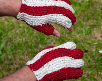 Handmade Knitted Red and White Speckled Rooster Fingerless Gloves Mens Accessories Retro Rocker Biker Steampunk