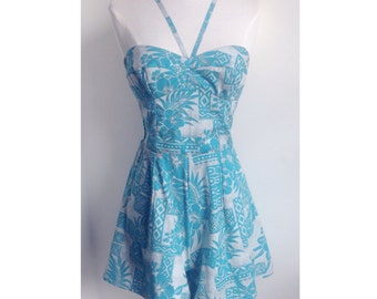 Hawaiian Blue 50s style Playsuit Romper - Vintage Style