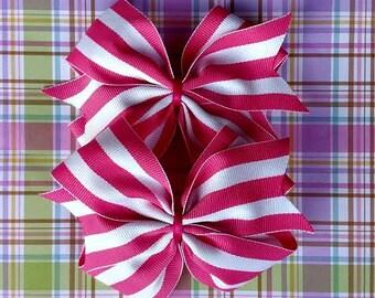Pink and White Striped Pinwheel Hair Bows