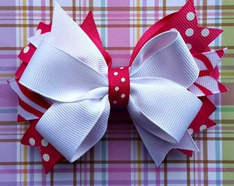 """4.5"""" Hot Pink and White Stacked Hair Bow"""