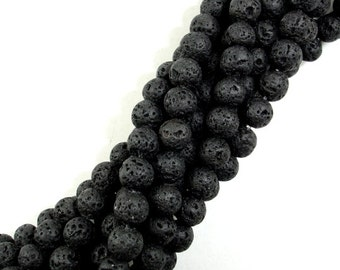 Black Lava Beads, Round, 6mm (6.6mm), 15 Inch, Full strand, Approx 60 beads, Hole 1 mm (300054019)