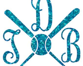 glitter vine font bat and ball monogram , heat transfer iron on , custom glitter iron on , glitter initials , personalized iron on ,