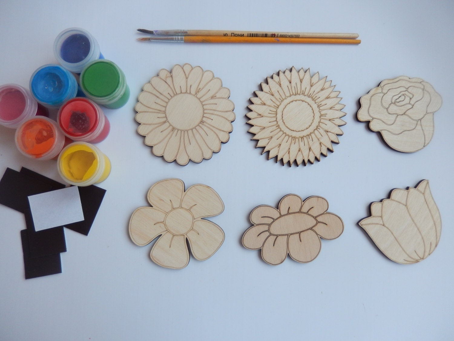 Kids wood craft kits - 6 Flower Wood Craft Shapes For Coloring Diy Kits Handmade Craft Supply Easy Kids Craft Set Flower Cutouts Simple Kids Crafts016