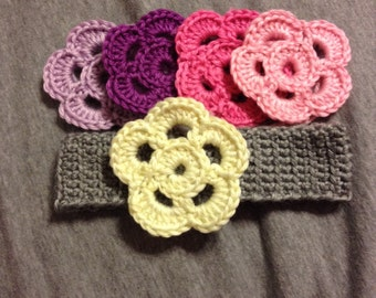Custom Single Flower Crochet Headband