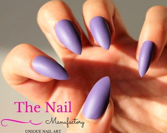 Purple matte Fake Nails Set  - Lilac Handpainted False Nails - Stiletto Nails, Oval Nails or Square Nails - Press On Nails - Accessory