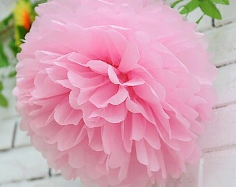 Set of 5 Baby Pink Tissue Paper Flower Pom Poms Wedding Bithday Bridal Shower Party Decoration
