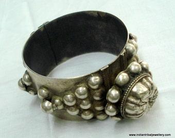 old silver bangle bracelet vintage antique ethnic tribal bellydance jewelry