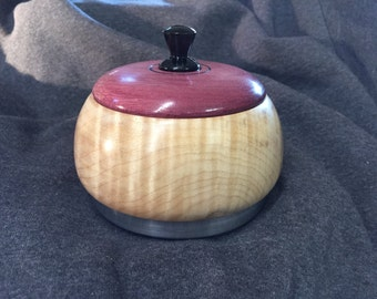 Decorative Maple bowl with Purpleheart lid and aluminum covered base.