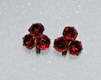 Gorgeous Ruby Red Rhinestone Earrings