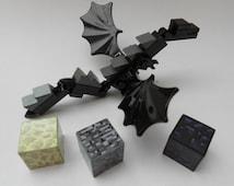 Lego Minecraft Custom Mini Figure Ender Dragon + Lego Ender Blocks