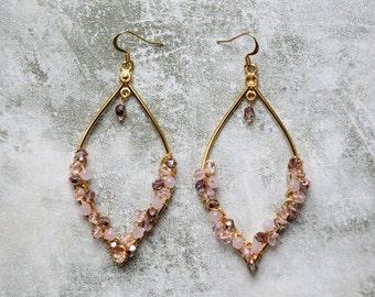 Rose Glass Teardrop Cluster Earrings