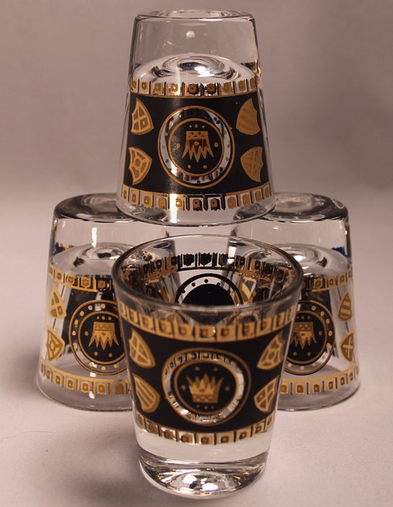 Retro Vintage Mid Century Black and Gold Detailed Barware Drinking 1 oz. Classic Shot Glass Set of 4 Mad Men Happy Hour Cocktails