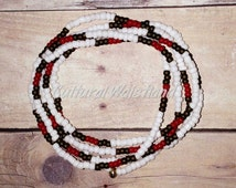 Waist Beads | Belly Beads | African Inspired | Belly Chains | White, Red, Brown