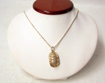 Vintage Sterling Silver Egyptian Beetle Necklace Pendant #93