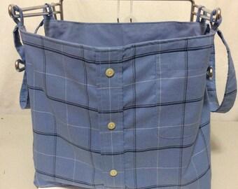 Blue Plaid shopping Bag
