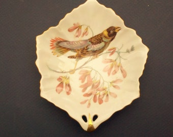 Germany porcelain leaf dish - BIRD and FLORAL - transferware Mitterteich Bavaria