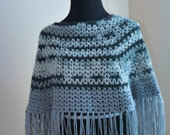 Gray Variety Crochet Poncho