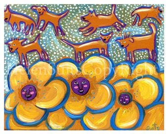 Dancing dogs among the flowers.Rich yellow  with turquoise and purple. 8 x 10 Folk art PRINT. FREE SHIPPING