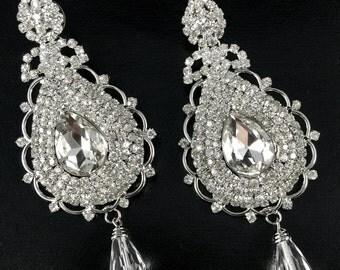 CZ Silver Tone Chandelier Earrings, Bridal, Crystal