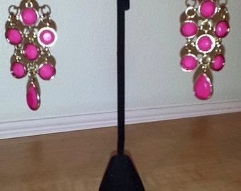 Pink & Gold Earrings - Pink Earrings - Gold Earrings - Women's Earrings - Dangle Earrings - Colorful Earrings - Women's Pink Earrings-Dangle