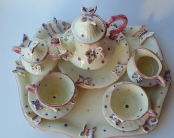 Child Sized Butterfly Teaset in Color You Choose