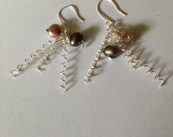 Pearl and Silver Coil Earrings
