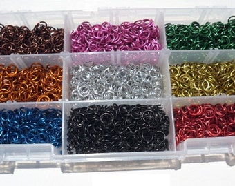 Jeweler Starter Kit JUMP RINGS Anodized Aluminum 1/4 18g American Chainmail