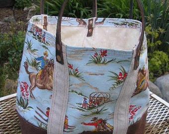 Western Cowboy Tote Market Bag