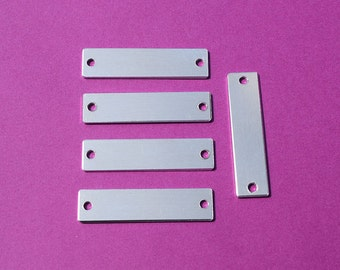 "10 - 5052 Aluminum 3/8"" x 1 1/2"" Rectangle Blanks - TWO HOLES - Polished Metal Stamping Blanks - 14G 5052 Aluminum"