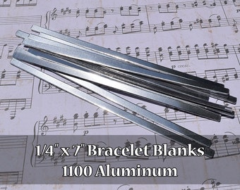 25 - 1100 Aluminum 1/4 in. x 7 in. Bracelet Cuff Blanks - Polished Metal Stamping Blanks - 14G 1100 Aluminum - Flat - Longer Cuff