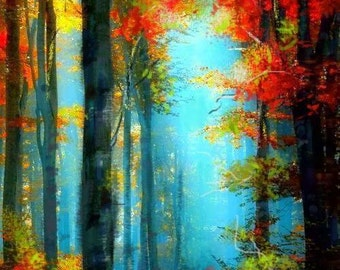 Sale Original painting art  forest landscape painting Ready to hang   By Chris Art -Size:50 x70cm , 19,7x 27,6in