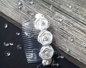 White Rose Bridal Hair comb