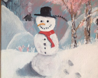 The snowman acrylic painting by Bradley Pearson on an 8x8 inch stretched canvas