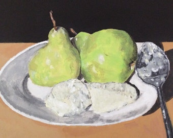 FREE SHIPPING! Pears and ice cream acrylic still life painting on a 12x12 inch stretched canvas