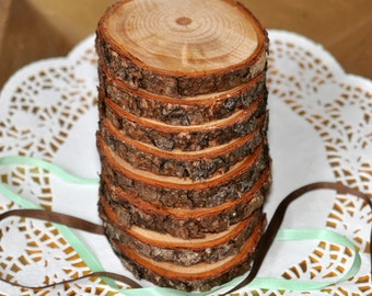 "25 Rustic Wood coasters 3""-4""-  Wedding Coasters - Rustic Decorations - Wood Slices - Rustic Wedding Decorations - Northwest Pine"