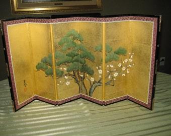 Authentic 6 (Six) Panel Sakura Window Tabletop Folding Gold Leaf White Cherry Blossom 16 X 33 Byobu Screen