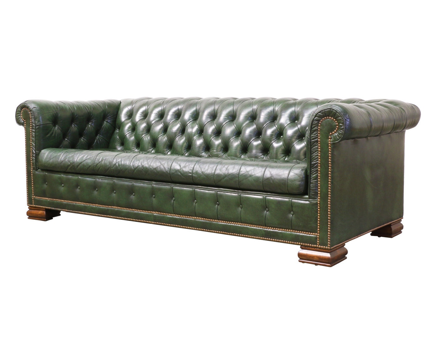 Chesterfield leather sofa bed vintage green leather chesterfield sofa bed by danishmodernla Leather chesterfield loveseat