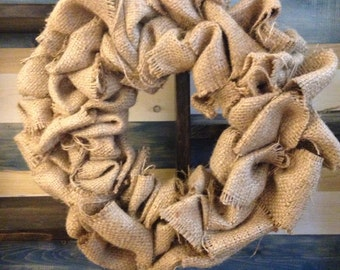 Small Handmade Recycled Burlap Wreath
