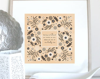 Lovely Aunt print, with folk flower frame, Aunt quote, aunt saying, Aunt gift, Auntie present, Aunt Birthday, Auntie Christmas, Aunt print