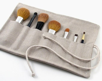 FREE SHIPPING - Linen Makeup Brush roll // Travel Makeup Brush Roll // Linen Makeup Brush Case