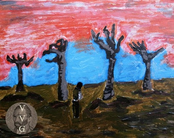 Pilgrim on the Plains of Leng - 8x10 PRINT - Lovecraftian Painting - Inspired by Van Gogh