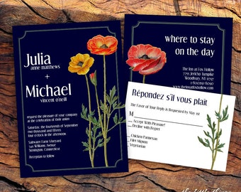 Printable Wedding Invitation, RSVP, Details with Rustic Flowers