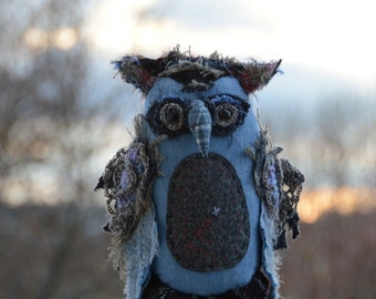 Owl Vovan - Luxury Gift - Home Decor - Office Decor - Textile Art - Blue - Bird