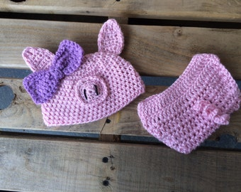 Pig Diaper Cover and hat