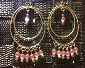 Silver Hoop Chandelier Earrings with Pink Cat's Eye Beads