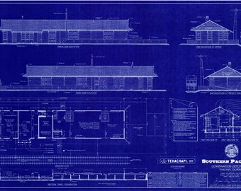 "1904 Southern Pacific Railroad Depot - Tehachapi, California - Handmade Blueprint (24"" x 36"") - HO Scale"
