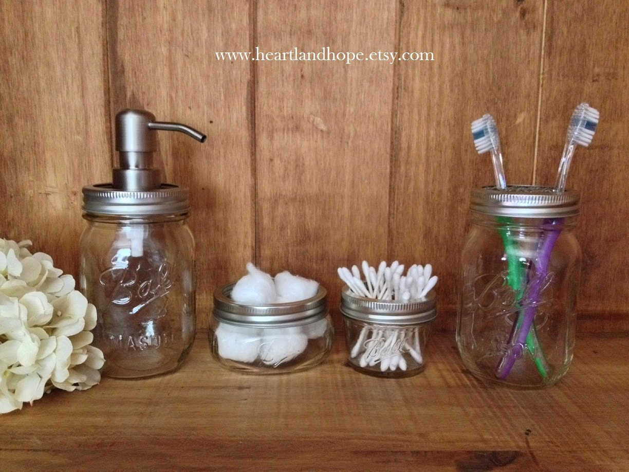 Four 4 piece mason jar bathroom accessories set by tagsntwine for Bathroom decor mason jars
